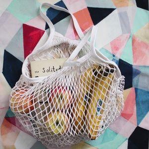 🆕 White Cotton Net French Market Bag